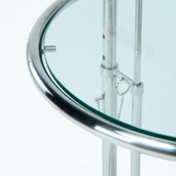Mesita Auxiliar Cristal y Metal Cromado, detalle Cristal