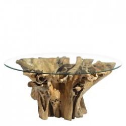 Mesa de Cristal con raíz de Teka