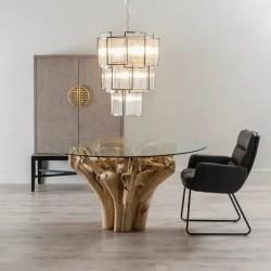 Mesa de Cristal con raíz de Teka, idea Decoración