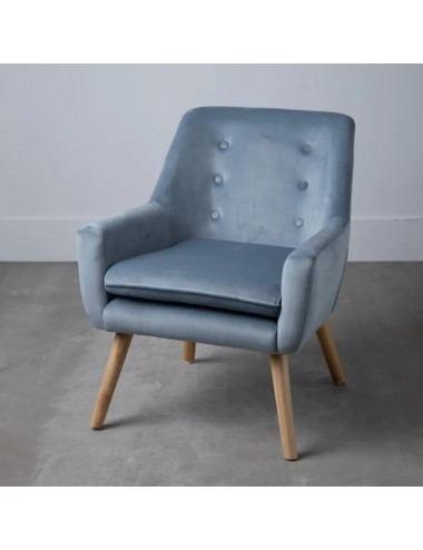Sillón Azul Claro en tejido y madera