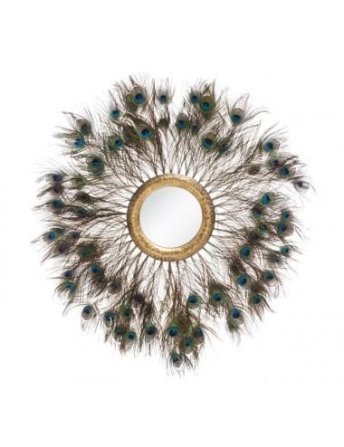 Espejo de Plumas de Pavo Real