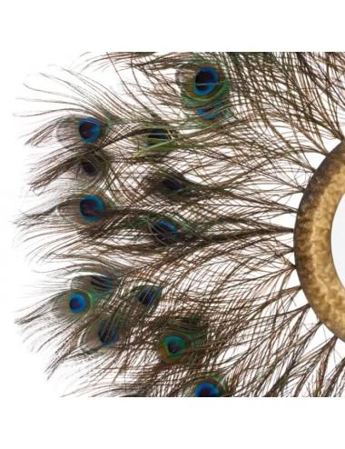 Espejo de Plumas de Pavo Real, detalle de las plumas