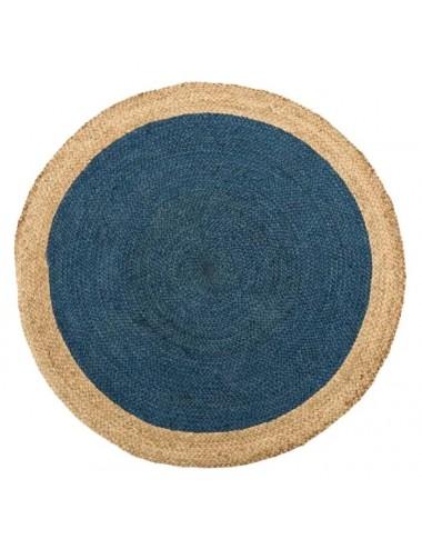 Alfombra YUTE en color Natural y Azul