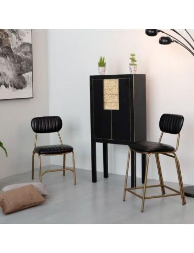 Taburete Negro-Dorado pequeño, idea decoración