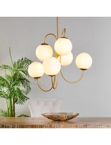 Lámpara de techo Pantalla redonda Blanca seis Luces, idea Decoración