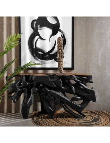 Consola Tronco madera de Teca color Negro, foto Ambiente