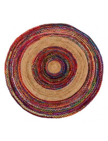 Alfombra de Yute y Algodón multicolor 180x180 cm