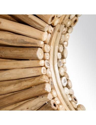 Espejo Natural de Troncos de Teka, detalle Interior