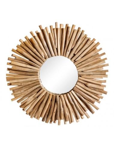 Espejo Natural de Troncos de Teka