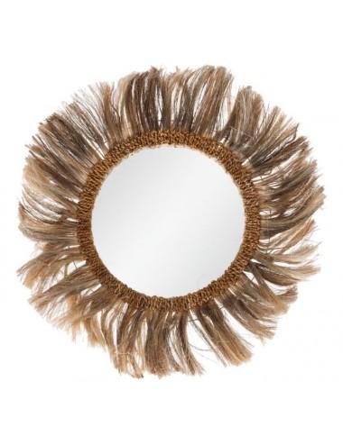 Espejo con Fibras Naturales estilo Africano
