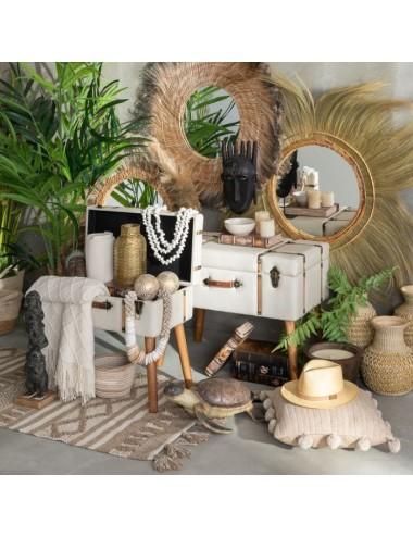Espejo Redondo con Fibras Naturales estilo Africano, foto Ambiente