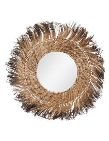 Espejo Redondo con Fibras Naturales estilo Africano