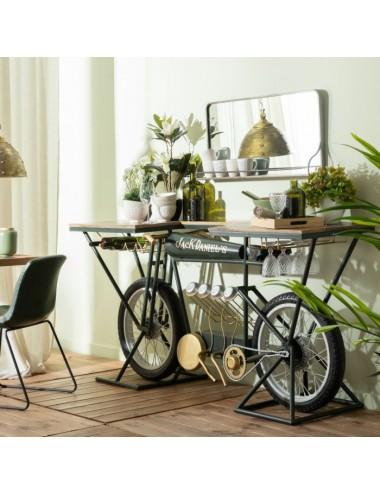 Consola Bicicleta de Hierro y Madera, foto ambiente