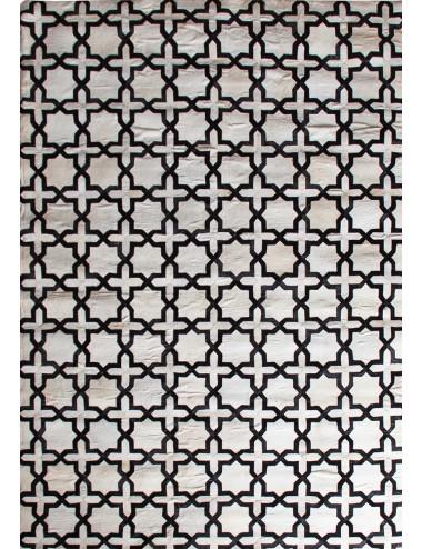 Alfombra Asha de cuero Blanco y Negro