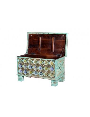 Baúl de madera de Mango color Verde Envejecido, vista Abierto