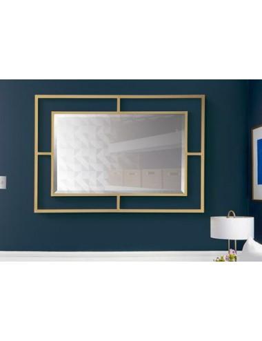 Espejo Geométrico Dorado