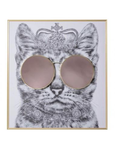 Cuadro de Impresión en Lienzo Gata con gafas rosas