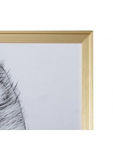 Cuadro de Impresión en Lienzo Gata con gafas rosas, detalle marco