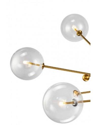 Lámpara de techo Seis brazos Dorado con Bola de cristal, detalle Tulipas de Cristal