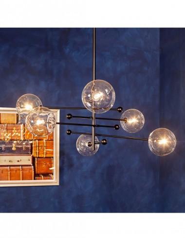Lámpara de Techo de seis Brazos color Negro con bola de Cristal, foto Ambiente 1