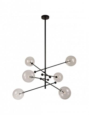 Lámpara de Techo de seis Brazos color Negro con bola de Cristal