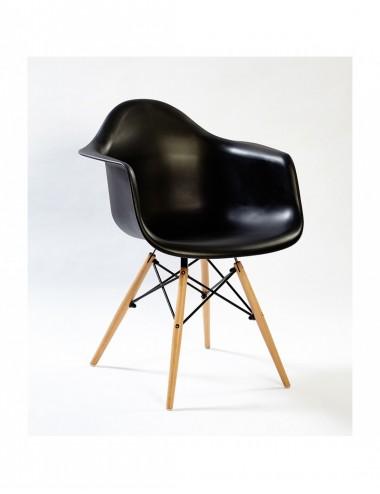 Silla Eames con patas de Madera color Negro