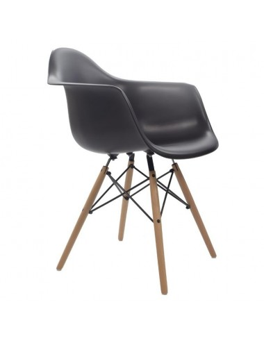 Silla Eames con patas de Madera color Negro, vista Lateral