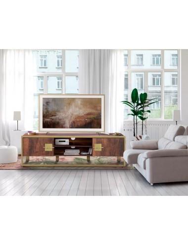 Mueble TV Madera de Mango patas Doradas, foto Ambiente