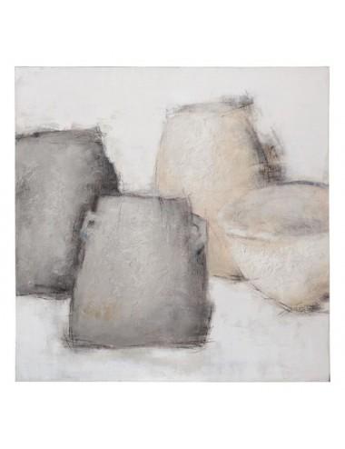 Cuadro Abstracto Gris en Lienzo