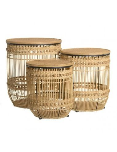 Set de Tres cestos de Bambú Natural