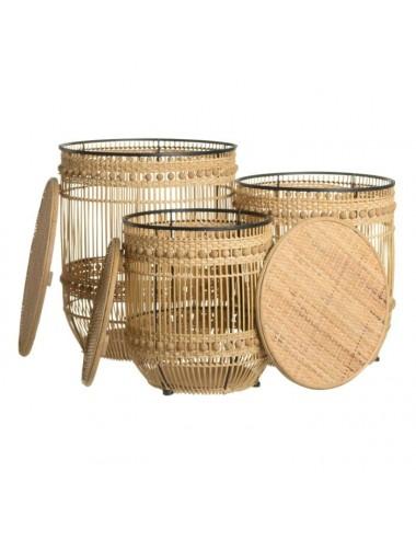 Set de Tres cestos de Bambú Natural, vista con tapa abierta