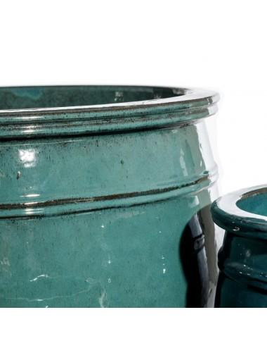 Set de cuatro Maceteros color Verde en Cerámica, detalle Superior