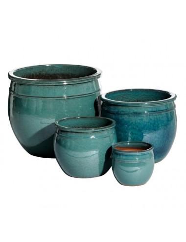 Set de cuatro Maceteros color Verde en Cerámica