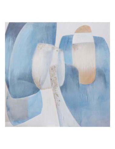 Pintura Abstracto en color Azul y Blanco en Lienzo