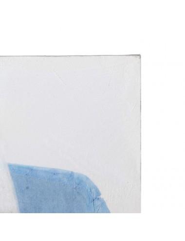 Pintura Abstracto en color Azul y Blanco en Lienzo, detalle Superior