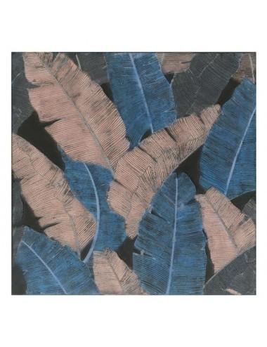 Pintura de Hojas color Azul y Crema en Lienzo