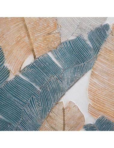 Pintura de Hojas color Azul y Crema en Lienzo, detalle 1