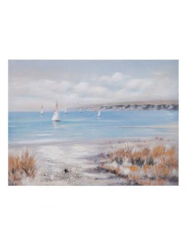 Pintura de Playa color Gris y Azul en Lienzo