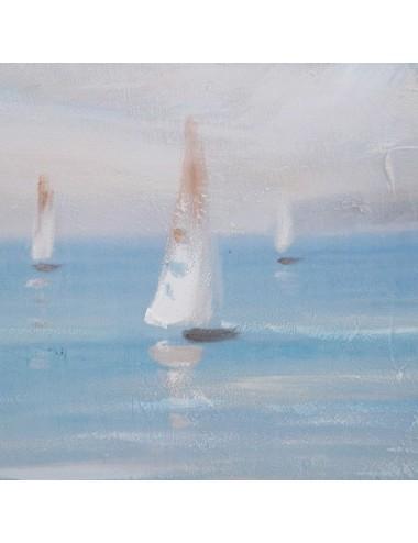 Pintura de Playa color Gris y Azul en Lienzo, detalle 1