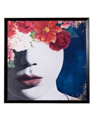 Cuadro Impresión de Rostro de Mujer con Flores