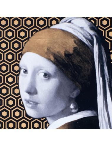 Cuadro en Impresión La Joven de la Perla Vermeer, detalle del Rostro