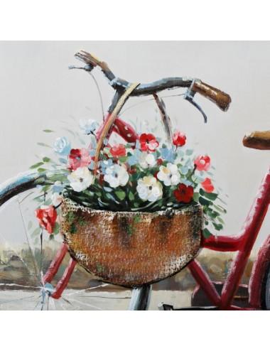 Pintura de Bicicleta sobre Lienzo color Gris y Rojo, detalle Cesta Bicicleta