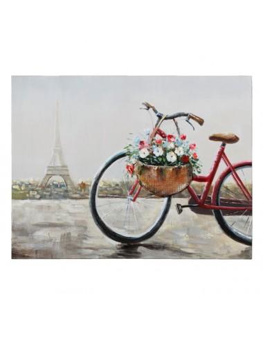 Pintura de Bicicleta sobre Lienzo color Gris y Rojo