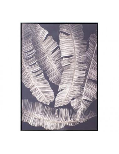 Cuadro Impresión de Hojas Negro y Blanco