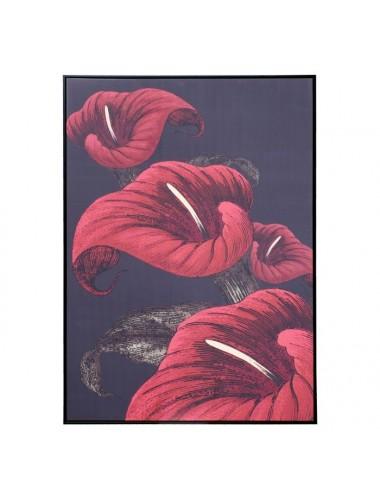 Cuadro Impresión de Lirios Rojo y Negro