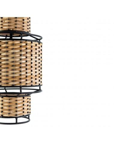 Lámpara de Techo de Metal Negro y Ratán Natural, detalle Central