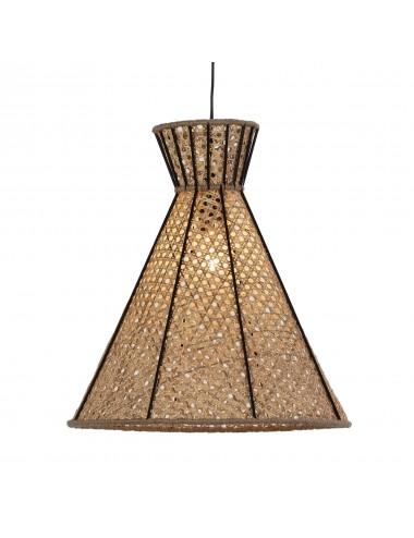 Lámpara de Techo de Metal y Ratán Natural