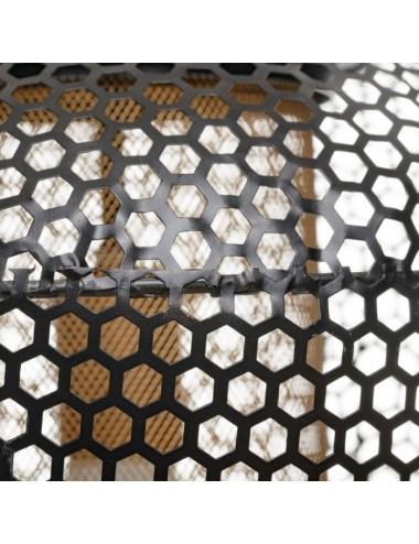 Lámpara de Techo en Metal Negro con Rejilla, detalle Central