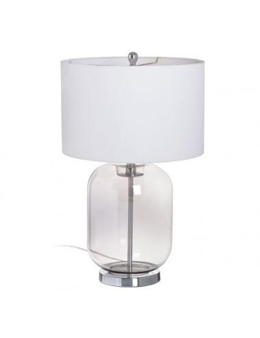 Lámpara de Sobremesa Gris de Cristal y Tejido