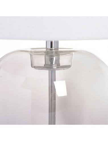 Lámpara de Sobremesa Gris de Cristal y Tejido, detalle Superior Base